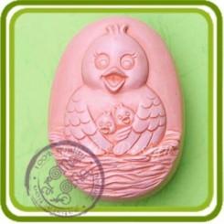 Курочка в гнезде - 2D силиконовая форма для мыла, свечей, шоколада, гипса и пр.