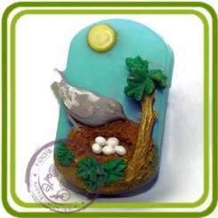 Птичка в гнездышке (дерев) - 2D Эксклюзивная силиконовая форма для мыла, свечей, шоколада, гипса и пр.