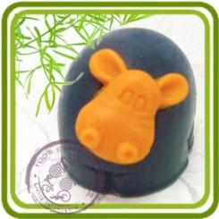 Бегемотик Шарик - 3D силиконовая форма для мыла, свечей, шоколада, гипса и пр.