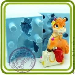 Жустель лошадка с украшениями - 3D силиконовая форма для мыла, свечей, шоколада, гипса и пр.