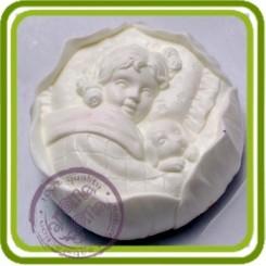 Марианна и щенок - 2D силиконовая форма для мыла, свечей, шоколада, гипса и пр.