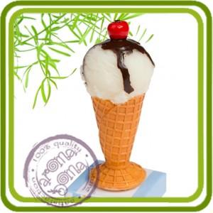 Мороженое мини с вишенкой  - 3D Объемная силиконовая форма для мыла, свечей, гипса, шоколада и пр.