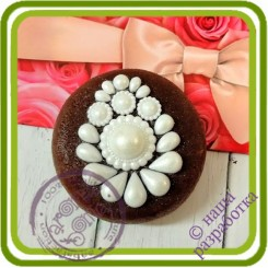 Брошь жемчужная на подиуме 1 - 2D АВТОРСКАЯ силиконовая форма для мыла, свечей, шоколада и пр.