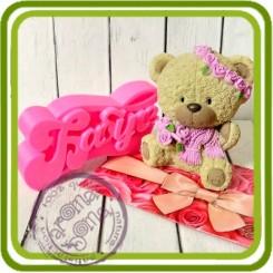Мишка в шарфе с букетом роз - 3D Объемная силиконовая форма для мыла, свечей, гипса, шоколада и пр.