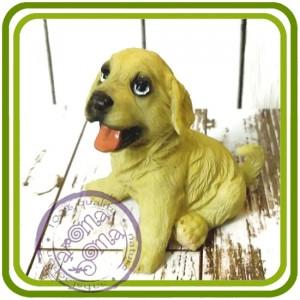 Щенок лабрадора с языком, собака - 3D Объемная силиконовая форма для мыла, свечей, гипса, шоколада и пр.