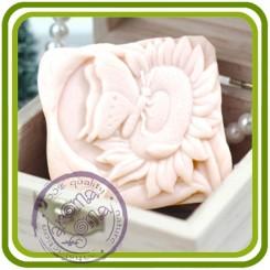 Подсолнух и бабочка (грин) - 2D силиконовая форма для мыла, свечей, шоколада, гипса и пр.