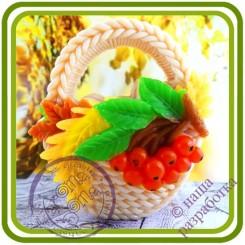 Корзина (рябина)  - Авторская 2D силиконовая форма для мыла, свечей, шоколада, гипса и пр.
