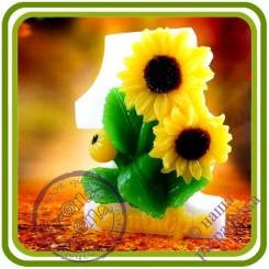 1 Сентября (подсолнухи) - Авторская 2D силиконовая форма для мыла, свечей, шоколада, гипса и пр.