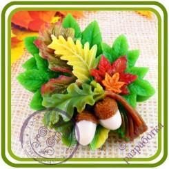 Осенний Букет из листьев - Авторская 2D силиконовая форма для мыла, свечей, шоколада, гипса и пр.
