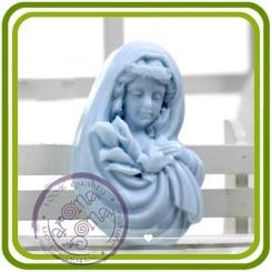 Девушка с каллами и голубем - 2D силиконовая форма для мыла, свечей, шоколада, гипса и пр.