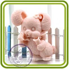 Зайка с розой - 2D силиконовая форма для мыла, свечей, шоколада, гипса и пр.