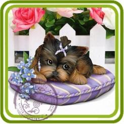 Йорк на подушке с цветами - 3D Объемная силиконовая форма для мыла, свечей, гипса, шоколада и пр.
