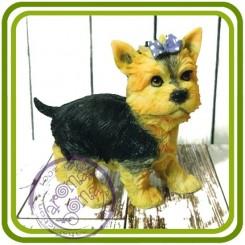 Йорк с бантом стоит, собака - 3D Объемная силиконовая форма для мыла, свечей, гипса, шоколада и пр.