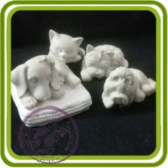 Кот, котенок (подушка отдельно), собака - 3D Объемная силиконовая форма для мыла, свечей, гипса, шоколада и пр.