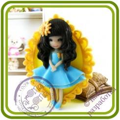 Куколка, девочка с герберкой (декорат.основание) - 2D АВТОРСКАЯ силиконовая форма для мыла, свечей, шоколада и пр.