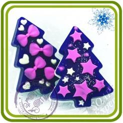 Елочки (звезды и банты 2 в 1) - 2D силиконовая форма для мыла, свечей, шоколада, гипса и пр.