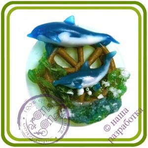 Дельфины и штурвал - 2D Эксклюзивная силиконовая форма для мыла, свечей, шоколада, гипса и пр.
