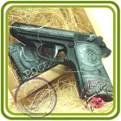 Пистолет Жизнь родине (2 размера) - 3D силиконовая форма для мыла, свечей, шоколада, гипса и пр.