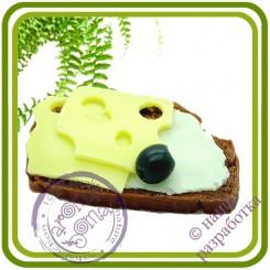Бутерброд №1 (сыр, оливка, масло, батон) -  3D Авторская силиконовая форма для мыла, свечей, шоколада, гипса и пр.