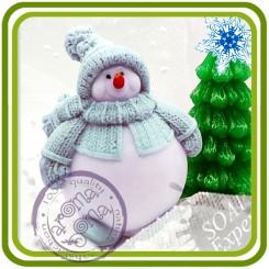 Снеговик пухлячок (2 размера) - 3D силиконовая форма для мыла, свечей, шоколада, гипса и пр.