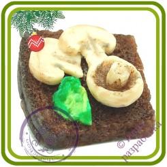 Бутерброд №7 (грибы, хлеб) - 3D Авторская силиконовая форма для мыла, свечей, шоколада, гипса и пр.