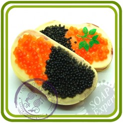 Бутерброд с икрой (красная и черная) - 2D силиконовая форма для мыла, свечей, шоколада, гипса и пр.