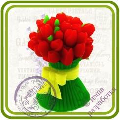 Букет тюльпанов с бантом (2 размера) - 3D  Авторская силиконовая форма для мыла, свечей, шоколада, гипса и пр.