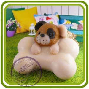 Щенок с косточкой, собака - 2D силиконовая форма для мыла, свечей, гипса, шоколада и пр.