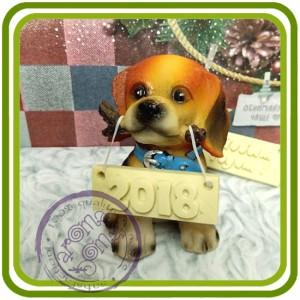 Щенок бигля ( с палкой), собака - 3D Объемная силиконовая форма для мыла, свечей, гипса, шоколада и пр.