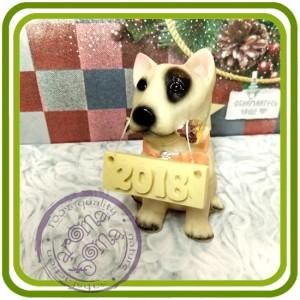 Щенок бультерьера ( с палкой), собака - 3D Объемная силиконовая форма для мыла, свечей, гипса, шоколада и пр.