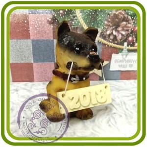 Щенок овчарки ( с палкой), собака - 3D Объемная силиконовая форма для мыла, свечей, гипса, шоколада и пр.
