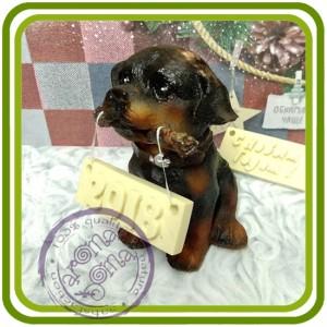 Щенок ротвейлера ( с палкой), собака - 3D Объемная силиконовая форма для мыла, свечей, гипса, шоколада и пр.