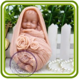 Малыш в шарфе - 2D Объемная силиконовая форма для мыла, свечей, гипса, шоколада и пр.