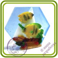 Парусник и рыбки - Эксклюзивная 2D силиконовая форма для мыла, свечей, шоколада, гипса и пр.