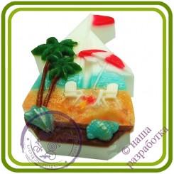Парусник (пляж) - Эксклюзивная 2D силиконовая форма для мыла, свечей, шоколада, гипса и пр.