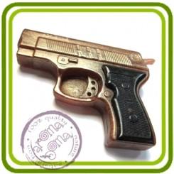 Пистолет (м) - 2D силиконовая форма для мыла, свечей, шоколада, гипса и пр.