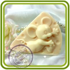 Мышонок и сыр - 2D силиконовая форма для мыла, свечей, шоколада, гипса и пр.