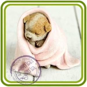 Щенок в одеяле, собака - 3D Объемная силиконовая форма для мыла, свечей, гипса, шоколада и пр.