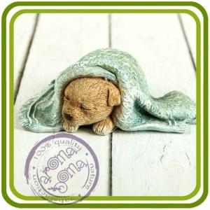 Щенок под полотенцем, собака - 3D Объемная силиконовая форма для мыла, свечей, гипса, шоколада и пр.