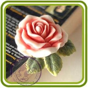 Роза малая с листочками - 2D молд,силиконовая форма для мыла, свечей, гипса, шоколада и пр.