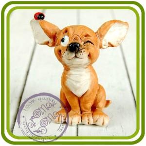 Хитрец, щенок, собака - 3D Объемная силиконовая форма для мыла, свечей, гипса, шоколада и пр.