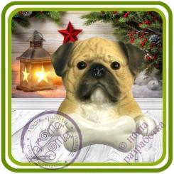 Мопс с косточкой, собака - Авторская 2D силиконовая форма для мыла, свечей, шоколада, гипса и пр.
