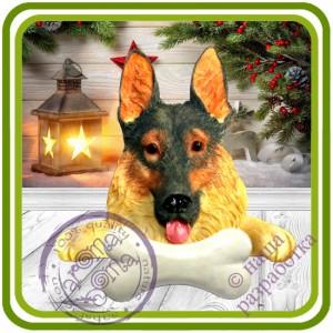 Овчарка с косточкой, собака - Авторская 2D силиконовая форма для мыла, свечей, шоколада, гипса и пр.