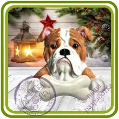 Бульдог с косточкой, собака - Авторская 2D силиконовая форма для мыла, свечей, шоколада, гипса и пр.