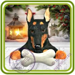 Дог с косточкой, собака - Авторская 2D силиконовая форма для мыла, свечей, шоколада, гипса и пр.