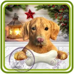 Лабрадор с косточкой, собака - Авторская 2D силиконовая форма для мыла, свечей, шоколада, гипса и пр.