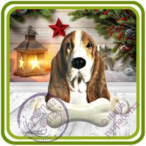 Бассет хаунд с косточкой, собака - Авторская 2D силиконовая форма для мыла, свечей, шоколада, гипса и пр.