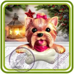 Йорк с косточкой, собака - Авторская 2D силиконовая форма для мыла, свечей, шоколада, гипса и пр.