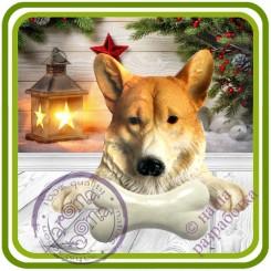 Корги с косточкой, собака - Авторская 2D силиконовая форма для мыла, свечей, шоколада, гипса и пр.