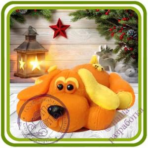 Замшевая, тряпичная собака - Авторская 2D силиконовая форма для мыла, свечей, шоколада, гипса и пр.